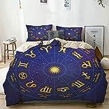 Juego de Funda nórdica Beige, impresión de Fechas de Nacimiento del horóscopo astrológico, Juego de Cama Decorativo de 3 Piezas con 2 Fundas de Almohada