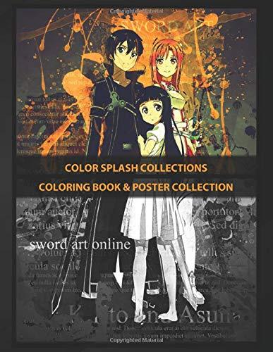 Coloring Book & Poster Collection: Color Splash Collections Kirito Asuna Sword Art Online Color Splash Anime & Manga