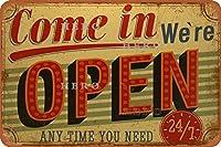 OPEN 24さびた錫のサインヴィンテージアルミニウムプラークアートポスター装飾面白い鉄の絵の個性安全標識警告アニメゲームフィルムバースクールカフェ40cm*30