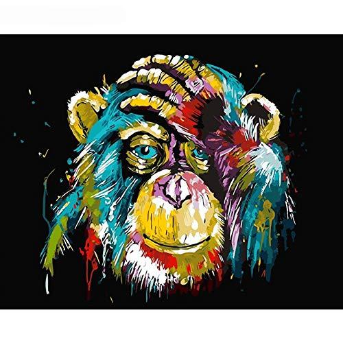 wwdfdd Pintura por números Sin Marco Babuino Animal DIY Pintura por Número Imagen de Arte de Pared Pintura por Número Pintura de la Lona para la Decoración Casera Obra de Arte 40X50 CM
