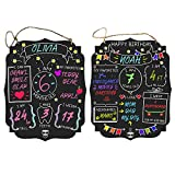 Baby Milestone Board Birthday Board: Celebrate Monthly Milestones + Birthdays With Unique Double-Sided Chalkboard Sign | Two Sides