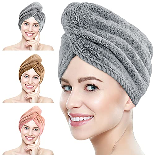 Suntee 3 Pack Microfiber Hair Towel Wrap, Super Absorbent Hair Drying Turban Towel, Quick Drying Hair with Button, Bath Caps for Women Curly, Long & Thick Hair (Pink, Brown, Gray)