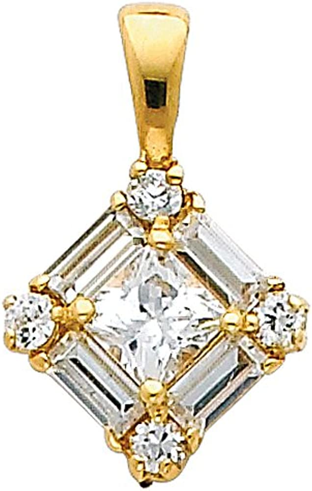 14k REAL Yellow Gold Max 75% OFF CZ Max 87% OFF Cluster Charm Pendant Square