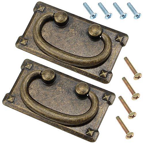 NewZC 2 Stück Retro Möbelgriffe 95.5x 92 mm Antik Schubladengriffe Messing Möbelgriff Klappargriff für Truhen Schränke Kommoden Schublade