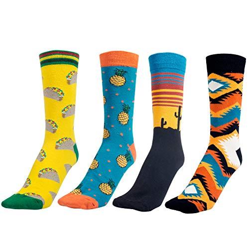 Comius Calcetines Estampados Hombre, Divertidos Patrones Interesantes Diseño Elegante Calcetines de Colores de Moda, Cómodo, Transpirable (4)