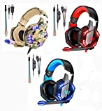 KOTION Each Gaming Headset,PS5&PS4 Headset with Microphone,Xbox One Headset with Noise Canceling Mic&Led Light, PC Headset with 7.1 Bass Surround Sound, Nintendo Switch Headset with Mic.