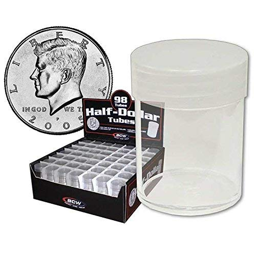 (20) BCW Brand Round Clear Plastic (Half Dollars) Size Coin Storage Tube Holders with Screw on Lid