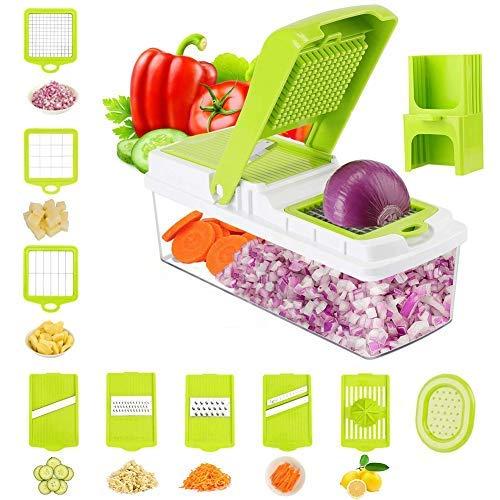 Cortador de verduras y rallador de mandolina – 8 cuchillas intercambiables de acero inoxidable – Cortador de cocina de múltiples frutas y queso y cebolla