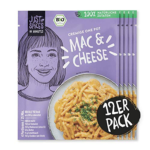 Just Spices IN MINUTES Mac & Cheese   Einfach, Lecker, Schnell   100{cd03ed6c316a107481e1b35d54de475afb45f8c8a82f58d2b97a54e2ba84ab7c} Natürliche Zutaten & 100{cd03ed6c316a107481e1b35d54de475afb45f8c8a82f58d2b97a54e2ba84ab7c} BIO   12 Stück Vorteilspack