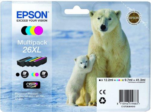 Epson Tonerpatrone Eisbär XL Multipack schwarz, gelb, cyan, magenta (C13T26364010)