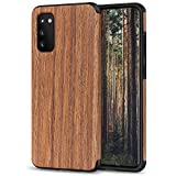 TENDLIN Compatible with Samsung Galaxy S20 Case Wood Grain Outside Design TPU Hybrid Case (Red Sandalwood)