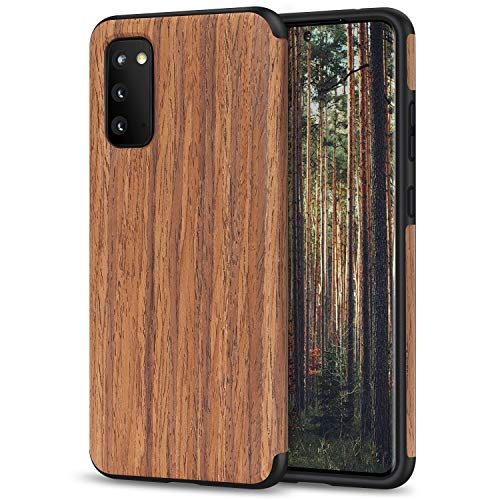 TENDLIN Kompatibel mit Samsung Galaxy S20 Hülle Holz Schutzhülle & TPU Hybrid Handyhülle (Rotes Sandelholz)