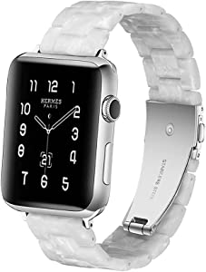HOPO Compatible With Apple Watch Band 38mm 40mm 42mm 44mm Thin Light Resin Strap Bracelet With Stainless Steel Buckle Replacement For iWatch Series 7 6 5 4 3 2 1 SE (Pearl White/Silver,38/40/41mm)
