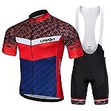 Lixada Traje de Ciclismo Hombre, Conjunto de Camiseta de Manga Corta MTB Transpirable para Verano y Otoño, Jersey + Pantalones Cortos y Babero Acolchado para Ciclismo (Rojo Y Azul, M)