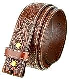 Genuine Full Grain Western Floral Engraved Tooled Leather Belt Strap 1-1/2' Wide (Tan 36)