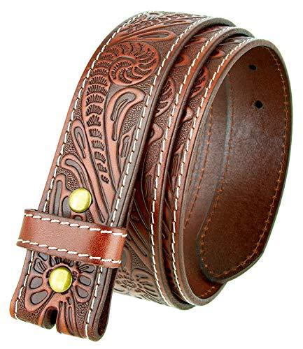 Genuine Full Grain Western Floral Engraved Tooled Leather Belt Strap 1-1/2' Wide (Tan, 32)