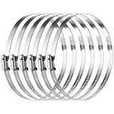 MIAHART 6 inch Hose Clamp Adjustable 304 Stainless Steel Duct Clamps Worm Gear Adjustable ...