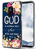 Case for S9 Christian Words - Topgraph [Soft TPU Slim Fit Clear with Design] Compatible for Samsung Galaxy S9 Protective Cover Psalm Theme Floral