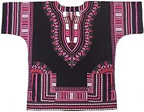 Vipada Handmade Men Dashiki Shirt African Caftan Black with Pink 5XL