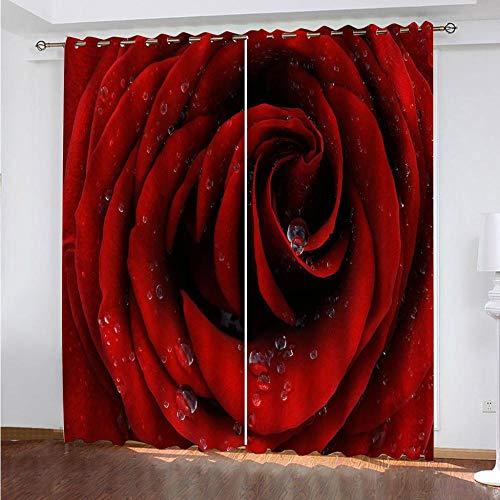 DRFQSK Cortinas Infantiles Impresión Digital Flor Rosa Roja 3D Cortinas Opacas Termicas Aislantes Cortinas Dormitorio Moderno con Ollaos, 2 Paneles 300 X 270 Cm(An X Al)