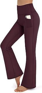 Promover Women Bootleg Yoga Pattern Pants with Pockets High Waist Bootcut Workout Running