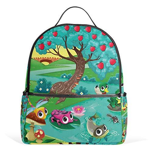 Rucksack mit süßem Frosch Libelle Ente Fische Äpfel Baum Fluss Schultasche Rucksack Canvas Rucksack Große Kapazität Tasche Casual Reise Daypack für Kinder Mädchen Jungen Kinder Studenten