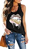 ETCYY Women's Red Lips Leopard Distressed Print Tongue T-Shirt Loose Yoga Athletic Workout Tank Tops Black