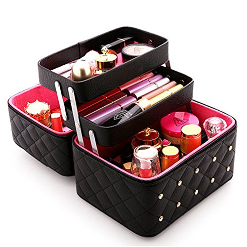 FYX Kosmetikkoffer Makeup Box Kosmetiktasche Schminkkoffer für Reisen Dienstreise weich 25 * 19 * 21cm Schwarz Rosa Pink (Schwarz)