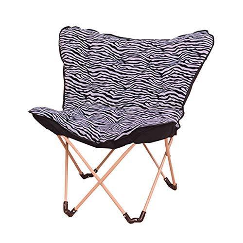 ZXZJ Stuhl-Klappstuhl, tragbarer Outdoor-Freizeit-Faulhocker, Leinen-Schmetterlingshocker, atmungsaktiv und bequem/Zebra.