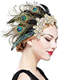 BABEYOND 1920s Flapper Hair Clip 20s Great Gatsby Headpiece 1920s Flapper Gatsby Hair Accessories (Peacock)