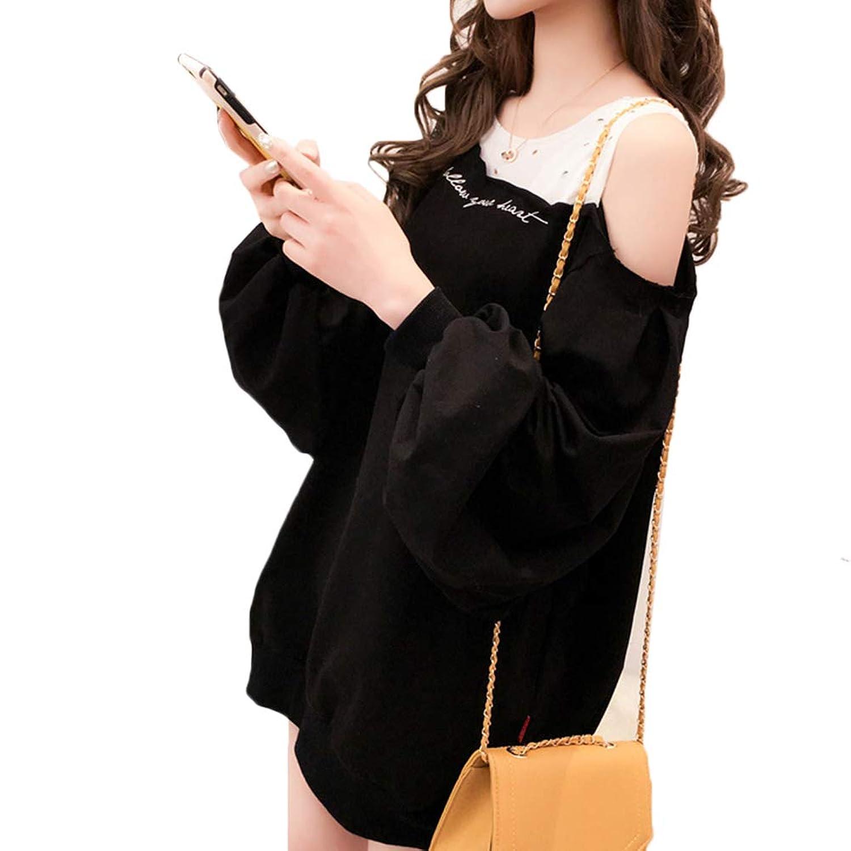 [CAIXINGYI] 2019年 新しい 春 ドレス スウェットシャツ 緩い 韓国 ストラップレスショルダー 二枚偽物 コート レディーズ カジュアル トレンド 甘い ファッション