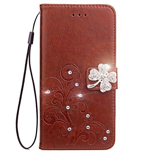 Docrax Nokia 3.1 Handyhülle, Hülle Leder Case mit Standfunktion Magnetverschluss Flipcase Klapphülle kompatibel mit Nokia3.1 - DOSDA091455 Braun