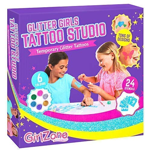 GirlZone Temporary Glitter Tattoos Kit Including 33 Pieces Best Birthday Present Gift Idea For