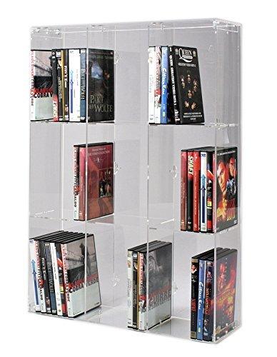 SORA Scaffale modulare per Dvd in Acrilico con Pannello Posteriore Trasparente