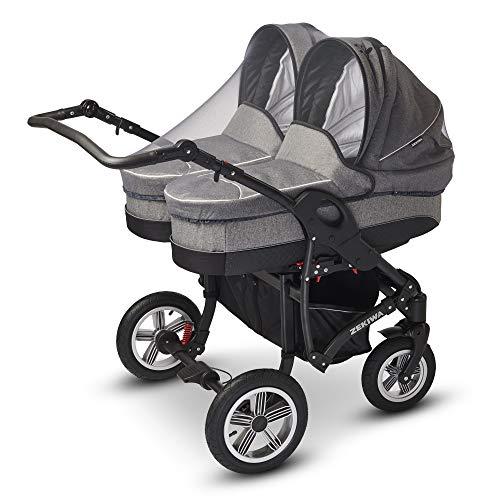 Universal Insektenschutz/Mückennetz für Zwillingskinderwagen/Zwillingsbuggy – Farbe: Grau/Weiß