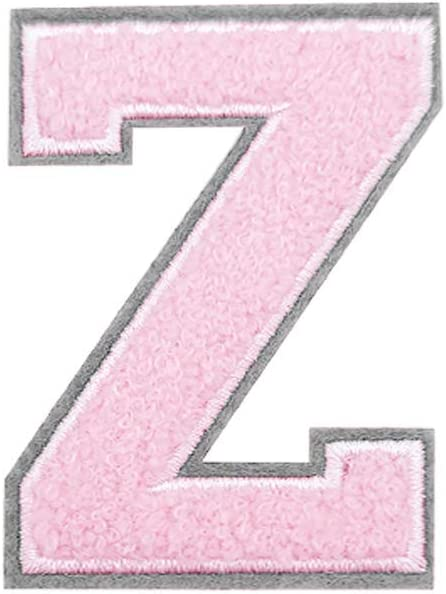 Birthday BOMALiNE Grey Back//Pink Chenille Iron on Letter Embroidered Patches Alphabet Letters A-Z Applique Accessory for Hats Jackets Shirts Jeans Bags Letter A Bedroom