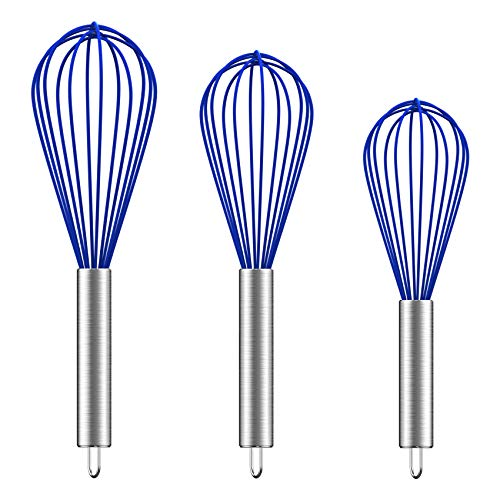 Ouddy 3 Pack Silicone Whisks 8'+10'+12', (Upgraded) Sturdy Wire Whisk Set Kitchen Wisk Whisks for Cooking, Blending, Beating, Stirring, Navy Blue