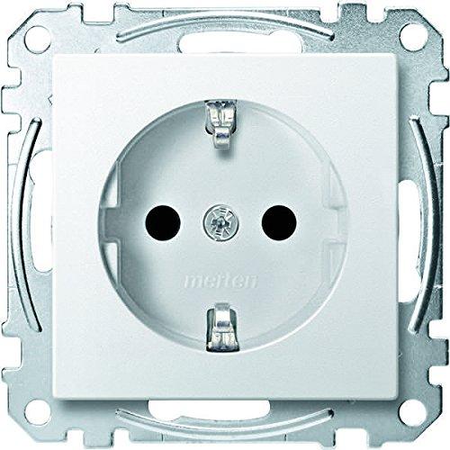 Merten MEG2300-0419 SCHUKO-Steckdose, erhöhter Berührungsschutz, Steckklemmen, polarweiß, System M (3X SCHUKO-Steckdose)