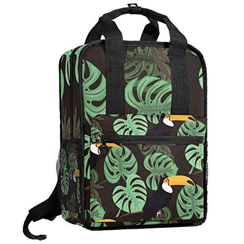 Mochila de viaje para ordenador o estudiante, bolso de mano, informal, regalo para hombres y mujeres, diseño de pájaros Toucan