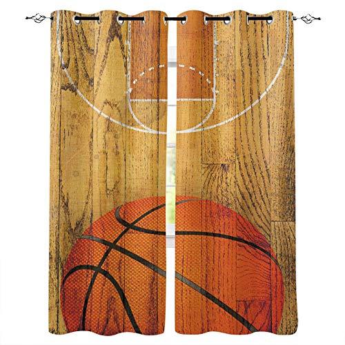 MXYHDZ Opacas Cortinas Dormitorio - Retro tablón Deportes Baloncesto - Impresión 3D Aislantes de Frío y Calor 90% Opacas Cortinas - 160 x 160 cm - Salon Cocina Habitacion Niño Moderna Decorativa