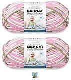 Bernat Baby Blanket Yarn - Big Ball (10.5 oz) - 2 Pack with Pattern (Little Roses)