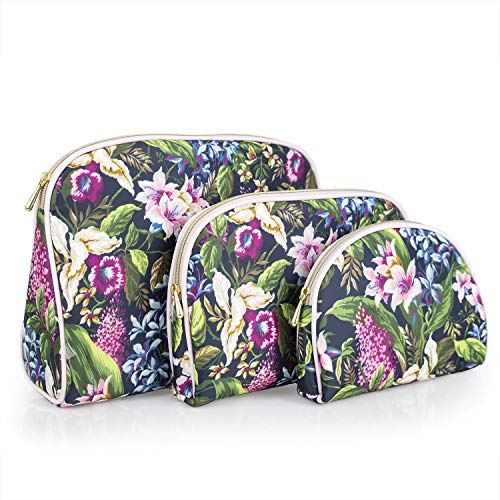 Once Upon A Rose 3 Pc Cosmetic Bag Set, Purse Size Makeup Bag for Women, Toiletry Travel Bag, Makeup Organizer, Cosmetic Bag for Girls Zippered Pouch Set, Large, Medium, Small (Forest Floral)