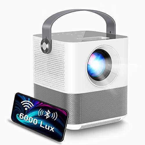 FANGOR プロジェクター 小型 6000lm ワイヤレス投影 1920*1080フルHD対応 Bluetooth デジタル台形補正 スマホと直接接続 スマホ/パソコン/PS4/タブレット対応 三年保証