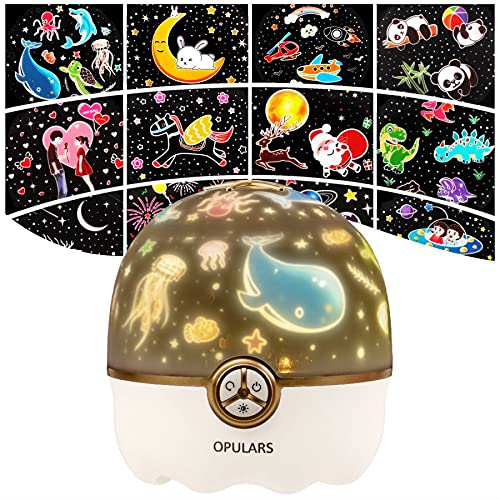 Night Light Kids Baby Star Projector Light,OPULARS Rechargeable Table Lamp 360° Rotation Desk Lamp,Bedroom and Christmas Party Decor Sensory Light Gift for Kids