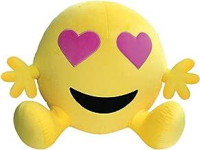 iscream 'Bestie' Jumbo Emoji Heart Eyes Fleece Microbead Pillow Friend