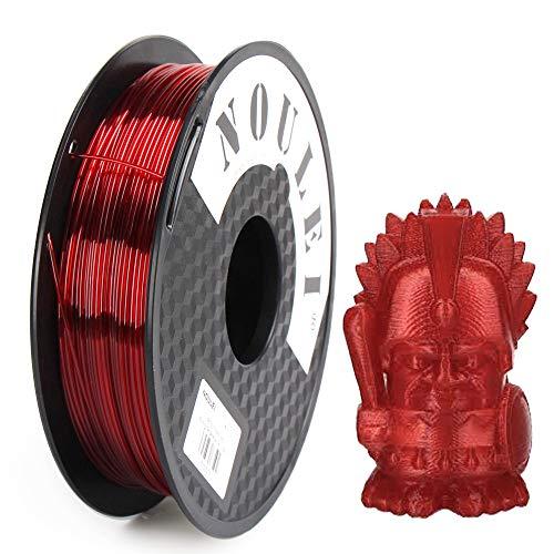 Filamento per stampante 3D Noulei PETG 1,75 mm, forte filamento per stampa 3D, (rosso scuro trasparente, 0,5 kg 500 g)
