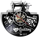 Orologio da parete in vinile per macchina da cucire, motivo: 'I Love Quilting Wall Hanging Orologio da parete per cucire e sartoria, decorazione per la casa