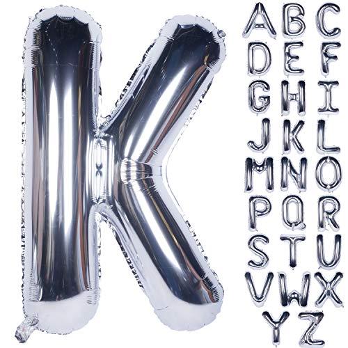 CHANGZHONG Globos de helio grandes de 100 cm, plateados, letras del alfabeto para cumpleaños, despedidas de soltera, decoración de aniversario (Letter K)