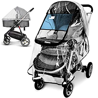 Stroller Rain Cover and Baby Stroller Mosquito Net(2-Piece Set),Universal Stroller Accessory,Waterproof, Windproof Protection,Protect from Dust Snow,Baby Travel Weather Shield