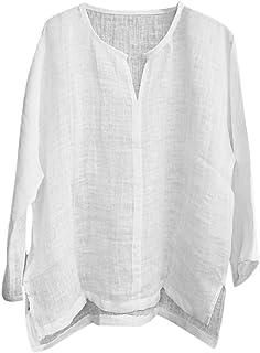 Camiseta casual de algodón y lino, para hombre, de verano, de color sólido, cuello en V, manga larga, para ocio, playa, yoga